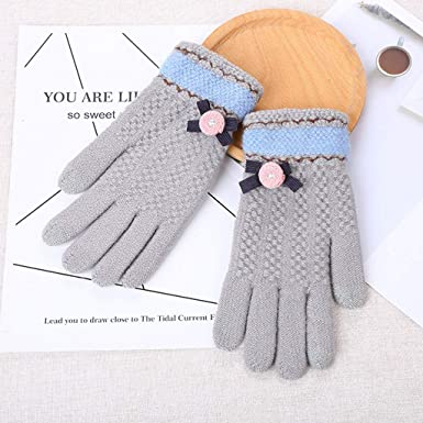 SANKE Women Multi-function Bow-Knot Riding Screen Winter Gloves Warm Mitten