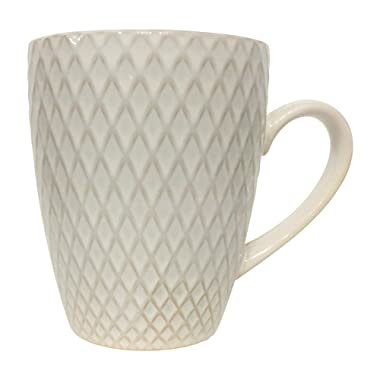 Textured Stoneware Coffee Mug Large 16.9 Oz - White (Diamonds)