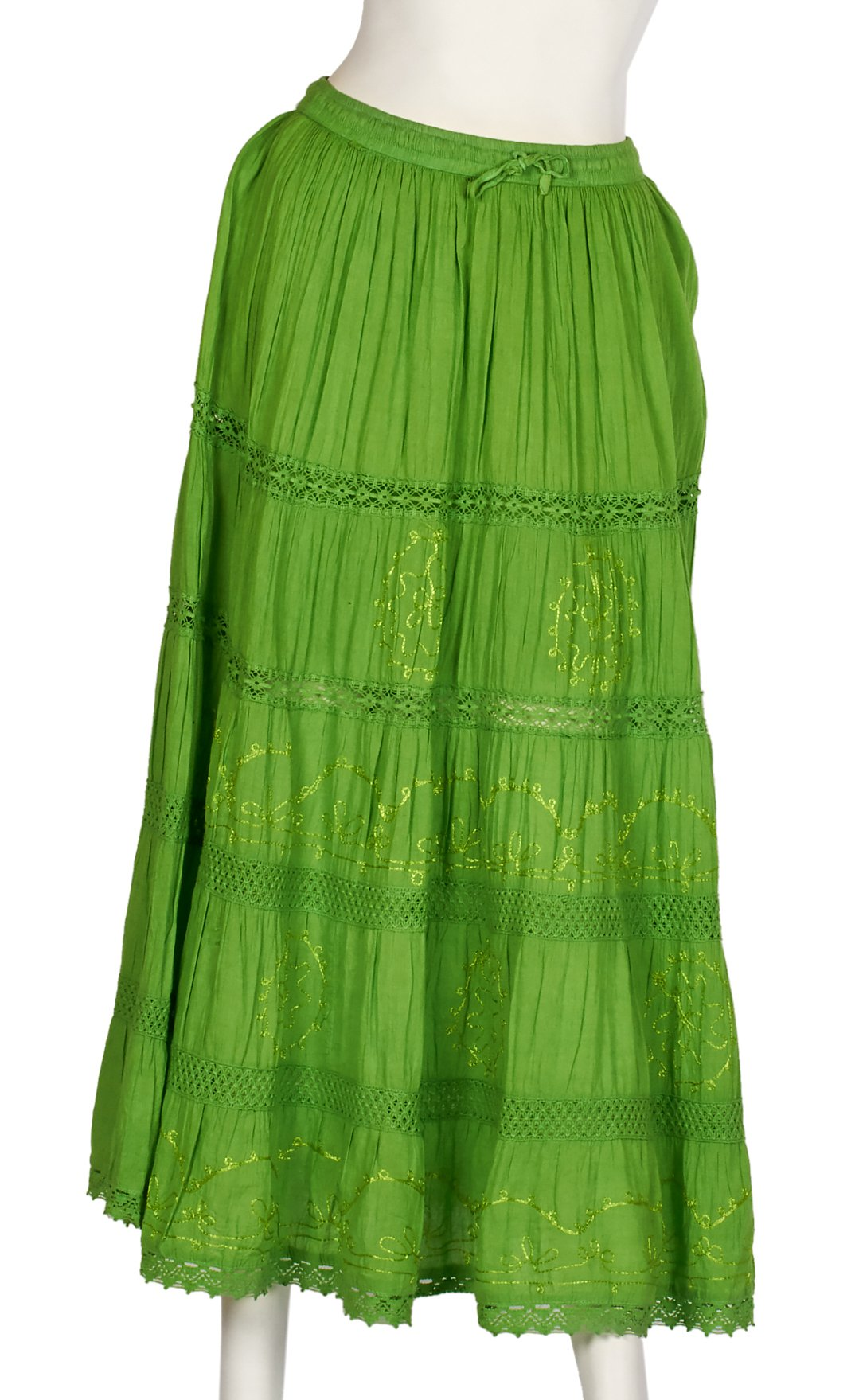 JOTW Indian Long Skirts with Solid Embroidered Design (Green)