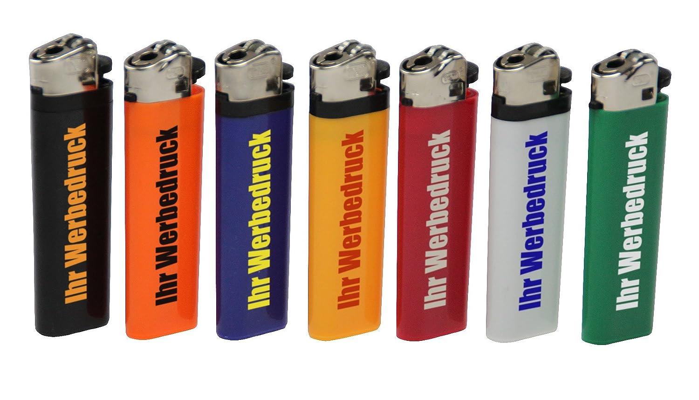 Reibrad-Feuerzeug mit Druck 1-farbig Werbung   Logo   300 Stück Druck doppelseitg