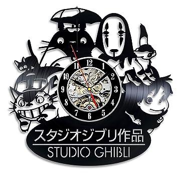 3D Studio Ghibli Anime Theme creativo vinilo negro reloj de pared decoración para el hogar Art