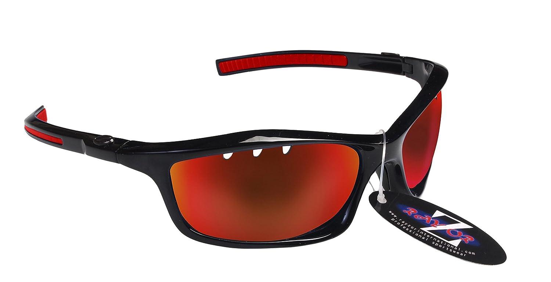 """Rayzor, occhiali da sole sportivi modello """" Wrap Cricket"""" , professionali, leggeri, UV400, con lente unica a specchio di colore blu, antiriflesso, montatura bianca, Black (401) occhiali da sole sportivi modello Wrap Cricket"""