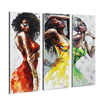 Artinme Framed African American Black Art Dancing Black Women In Dress Wall Art Painting On Canvas Print Wall Picture For Home Accent Living Room Wall
