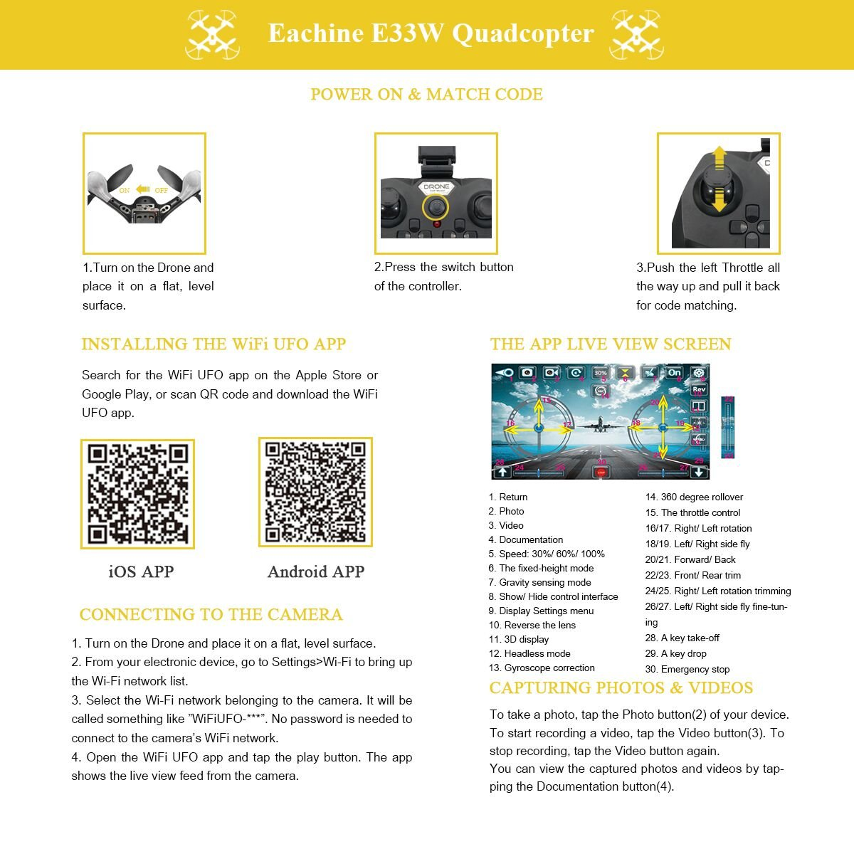 Amazon com: EACHINE E33W Wifi FPV Quadcopter With Camera Headless