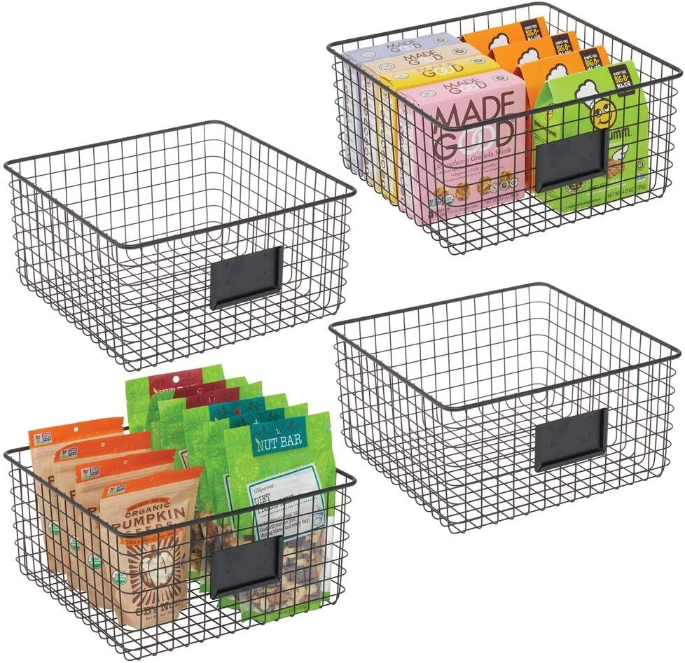 mDesign Farmhouse Decor Metal Wire Food Organizer Storage Bin Baskets with Label Slot for Kitchen Cabinets, Pantry, Bathroom, Laundry Room, Closets, Garage - 4 Pack - Matte Black