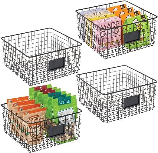etc compacta y universal Cesta de almacenaje de alambre mDesign Caja multiusos de metal Caja organizadora multifunci/ón para cocina plateado mate despensa