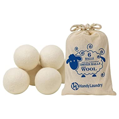 Wool Dryer Balls - Natural Fabric Softener, Reusable, Reduces Clothing Wrinkles and Saves Drying Time. The Large Dryer Ball is a Better Alternative to Plastic Balls and Liquid Softener. (Pack of 6)