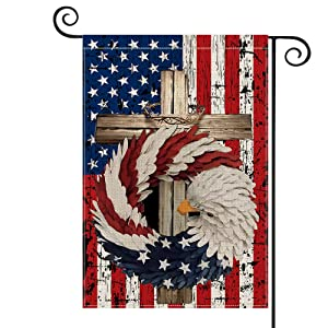 AVOIN Patriotic Strip and Star Cross Eagle Wreath Garden Flag Vertical Double Sided, USA Flag 4th of July Memorial Day Independence Day Watercolor Yard Outdoor Decoration 12.5 x 18 Inch