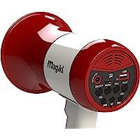 Magikl Megáfono Portátil - Altavoz con Sirena, Reproductor de MP3, Grabador - Pequeño y Ligero - Mini Batería Recargable…