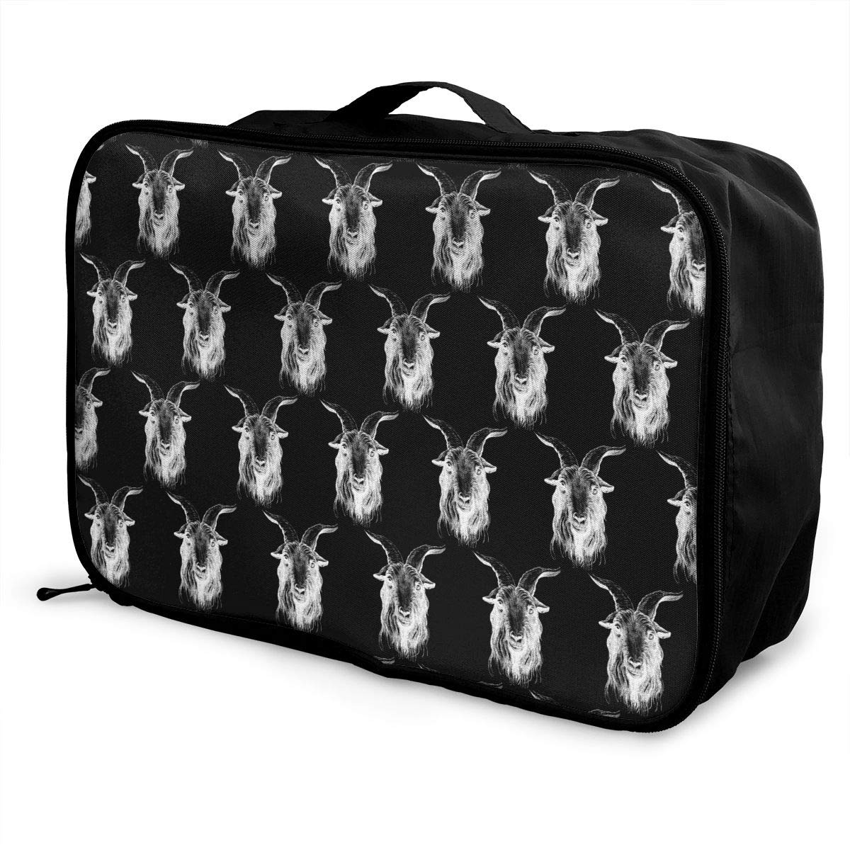 Travel Duffel Bag Waterproof Fashion Lightweight Large Capacity Portable Luggage Bag Goat Head Pattern Black