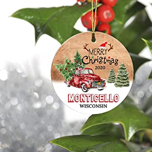 """Merry Christmas Tree Decorations Ornaments 2020 - Ornament Hometown Monticello Wisconsin WI State - Keepsake Gift Ideas Ornament 3"""" For Family, Friend And Housewarming"""