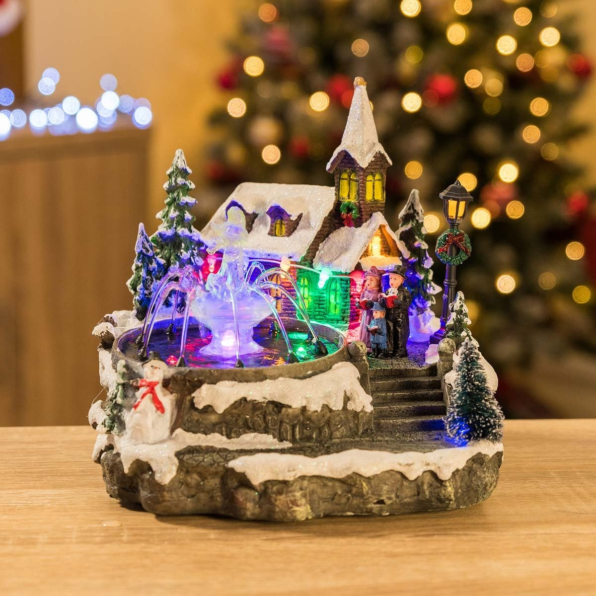 LED Christmas Village Church Scene Musical Table Top Fountain Indoor Decoration Christow Decorations