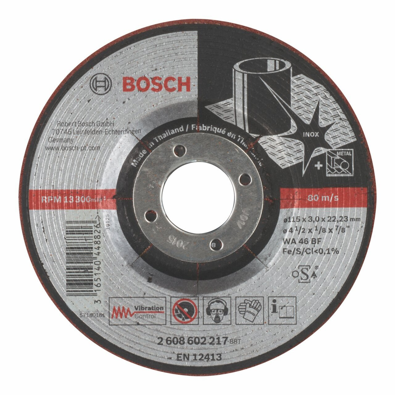 Bosch 2608602217 Grinding DiscWa 46 Bf 4.53inx3mm
