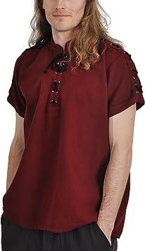 Camisa medieval hombre manga corta algodón de cordones Cuello Alto Rojo, hombre, rojo, XL: Amazon.es: Deportes y aire libre