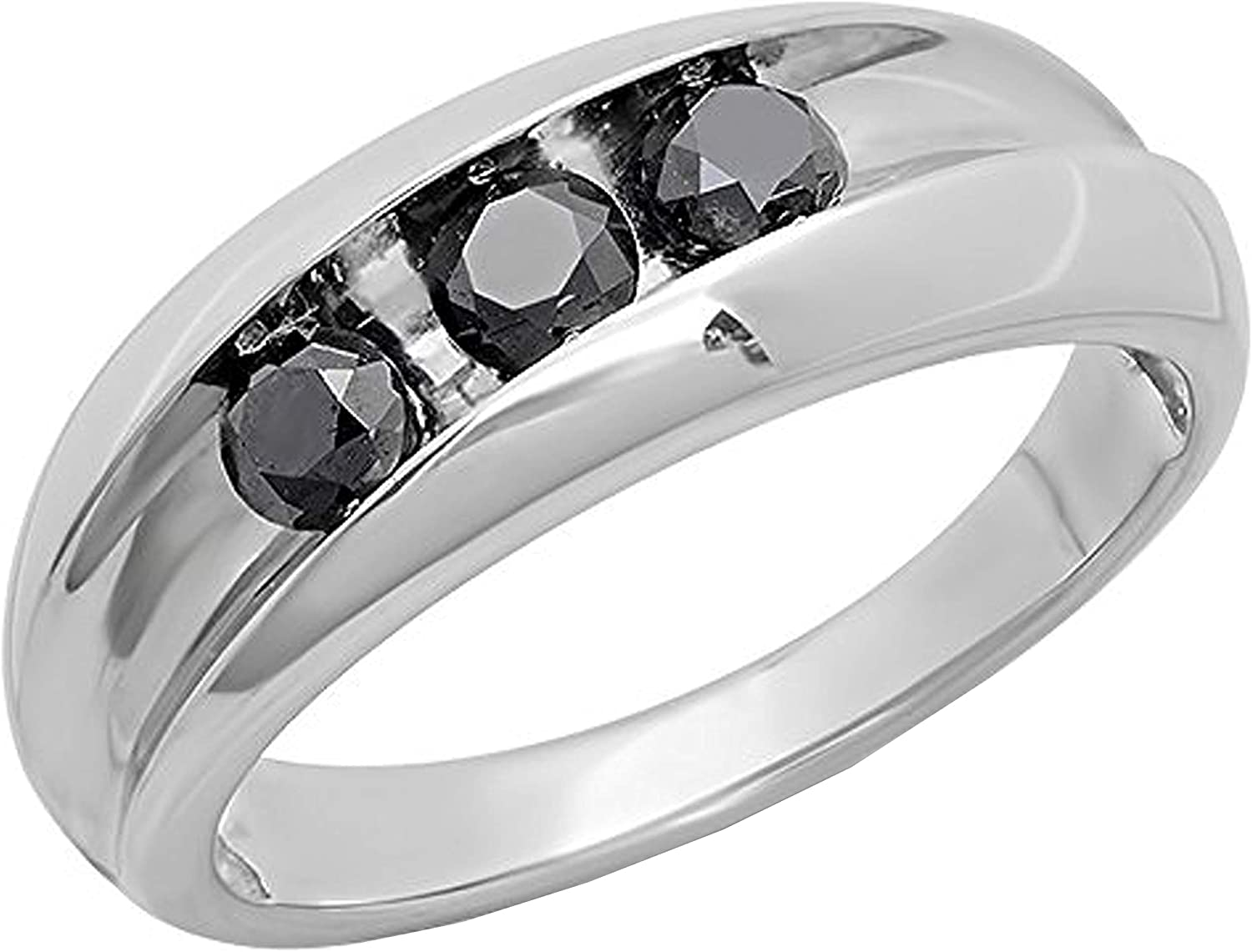 Dazzlingrock Collection 1.00 Carat (ctw) Round Black Diamonds Men's 3-Stone Wedding Band 1 CT, Sterling Silver