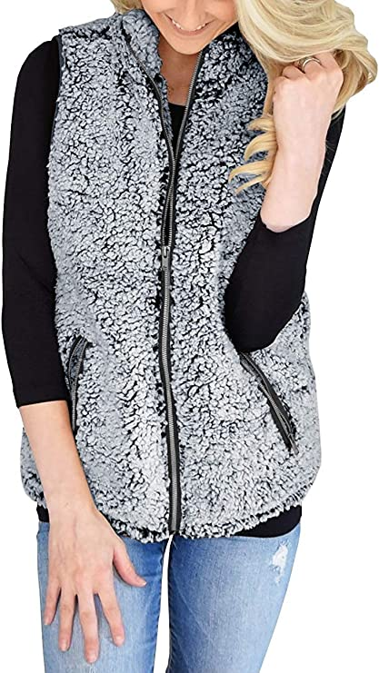 AIMICO Women's Casual Sherpa Faux Fur Vest Zip up Warm Cardigan Outerwear Jacket with Pockets Gray M