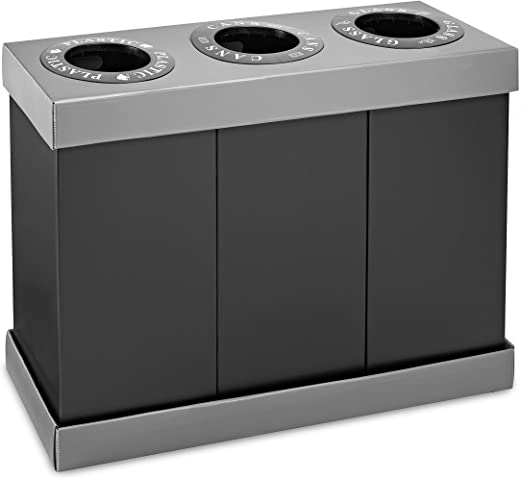 AdirPro Alpine Industries Recycling Center 28 Gallons - Durable Corrugated  Plastic Waste/Trash Organizer Ideal for Kitchen Office Hospital (3 Bins)