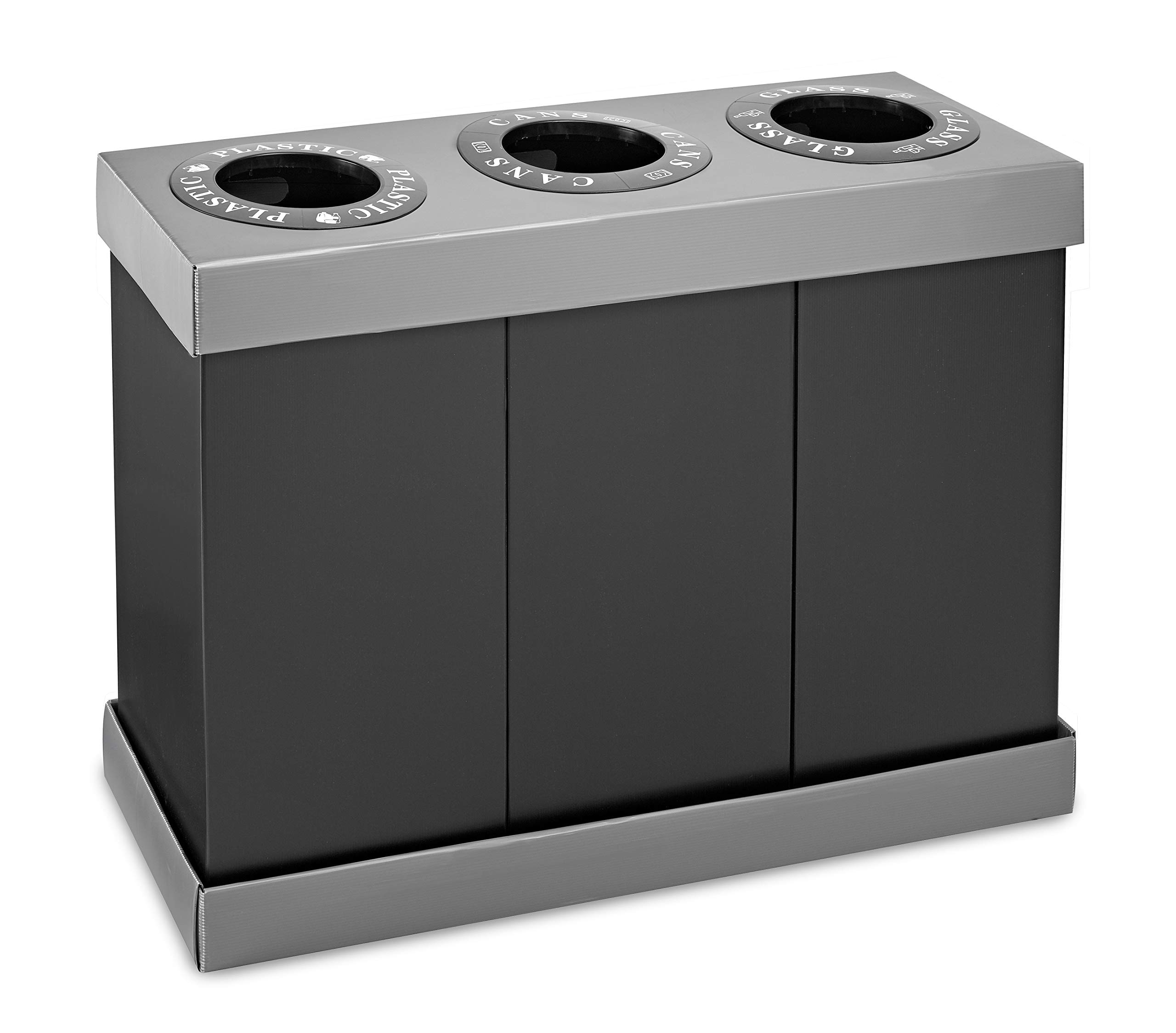 Alpine Industries Recycling Center 28 Gallons - Durable Plastic Waste/Trash Organizer Ideal for Kitchen Office Hospital Commercial Use (3 Bins)