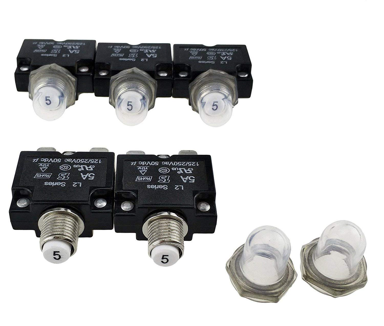 Greenwayyd 5Amps Circuit Breakers with Manual Reset Quick Connect Terminals DC50V AC125-250V, Pack of 5 F253-5