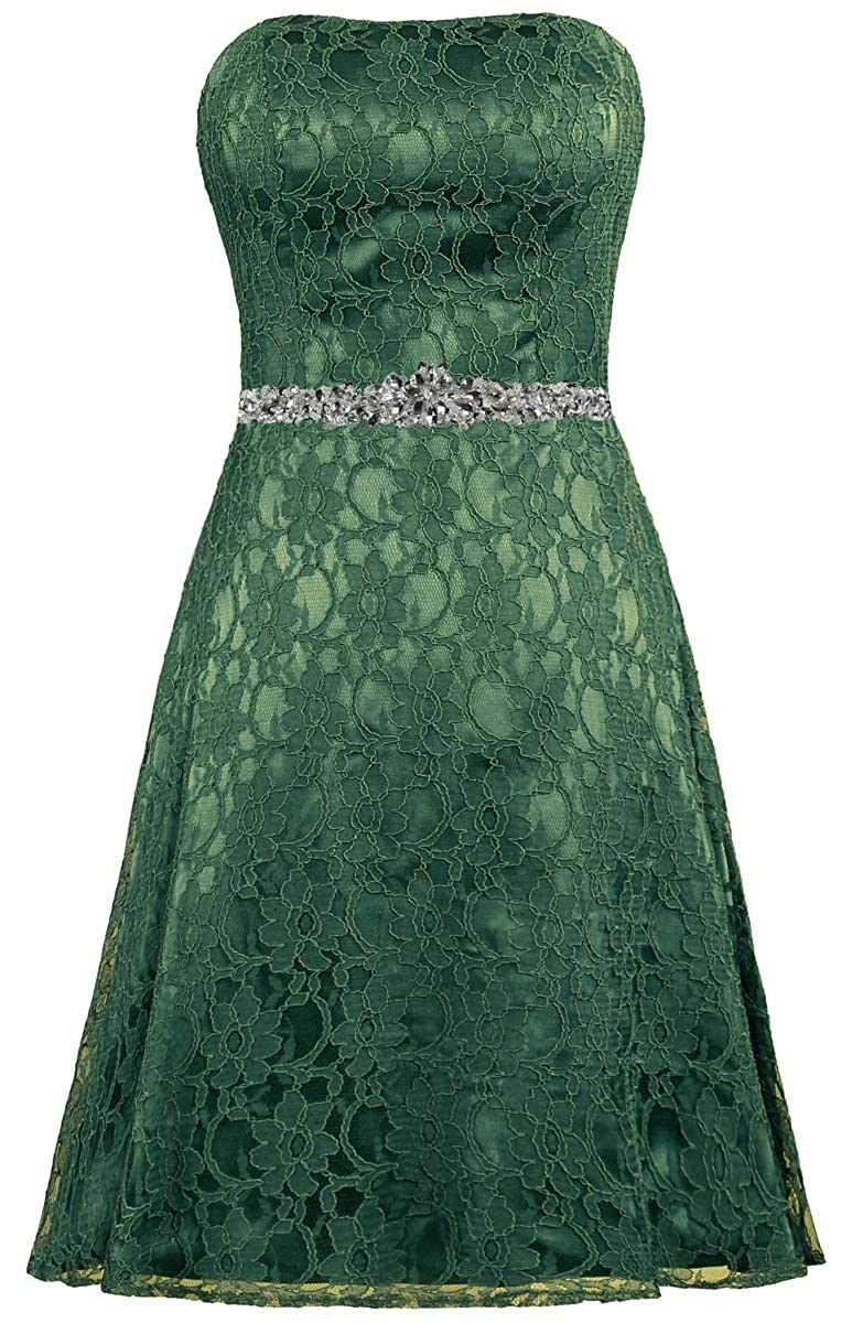 Dark Green ZAXANTS Women's Strapless Lace Cocktail Dresses Short Party Dress