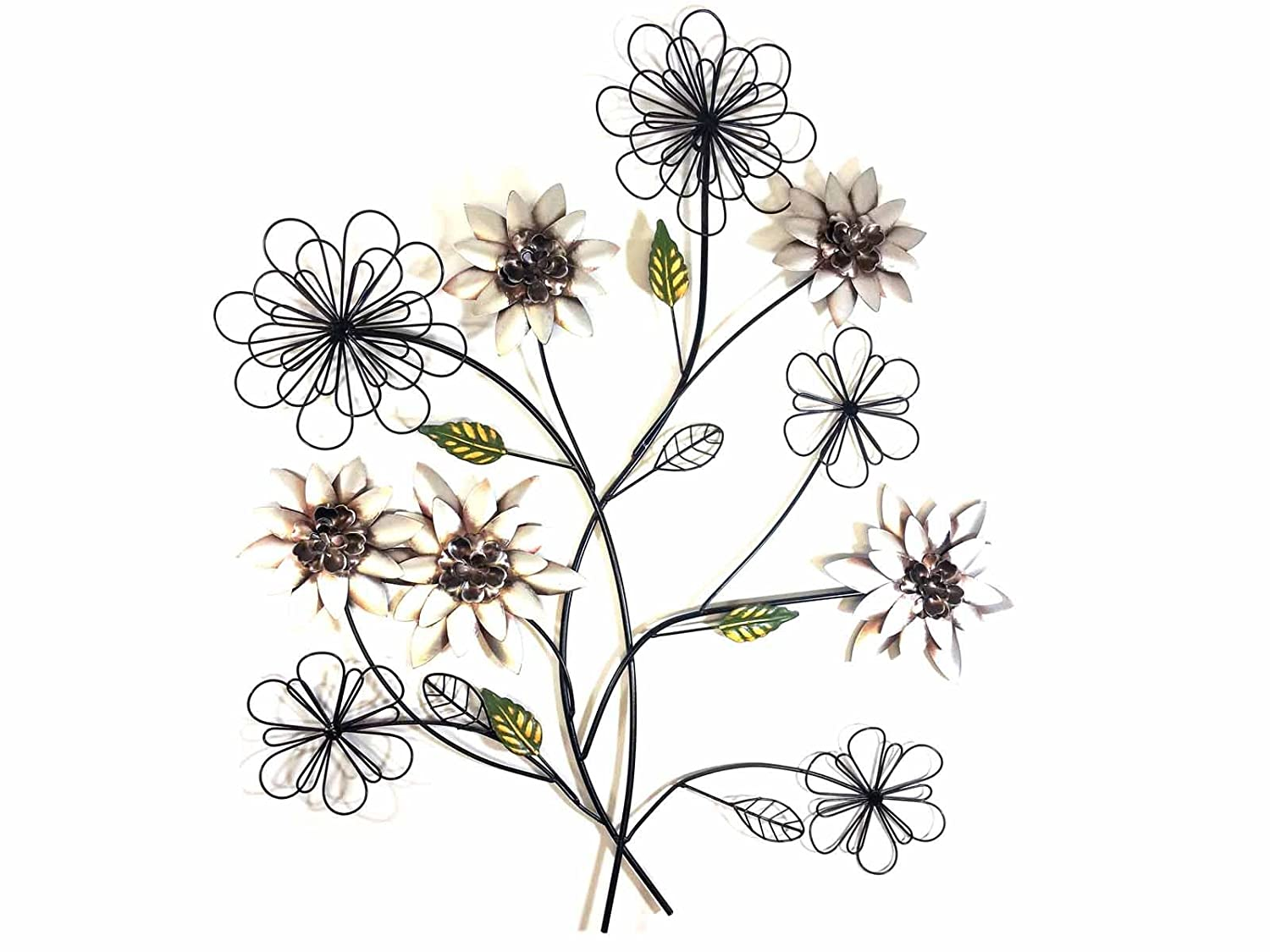 New - Contemporary Metal Wall Art Decor Sculpture - Rustic Silver Flower Bunch SK Style