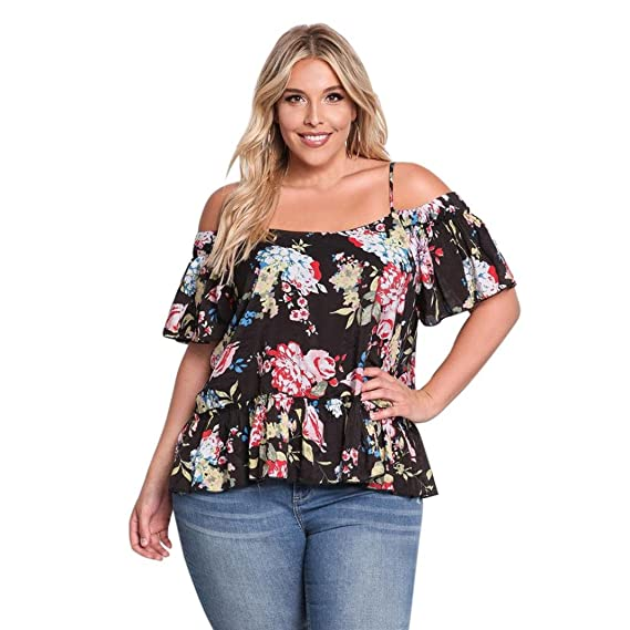 OverDose Mujer Blusa sin Hombros V Cuello Straped Grande más Blusa de tamaño Talla Extra Camiseta