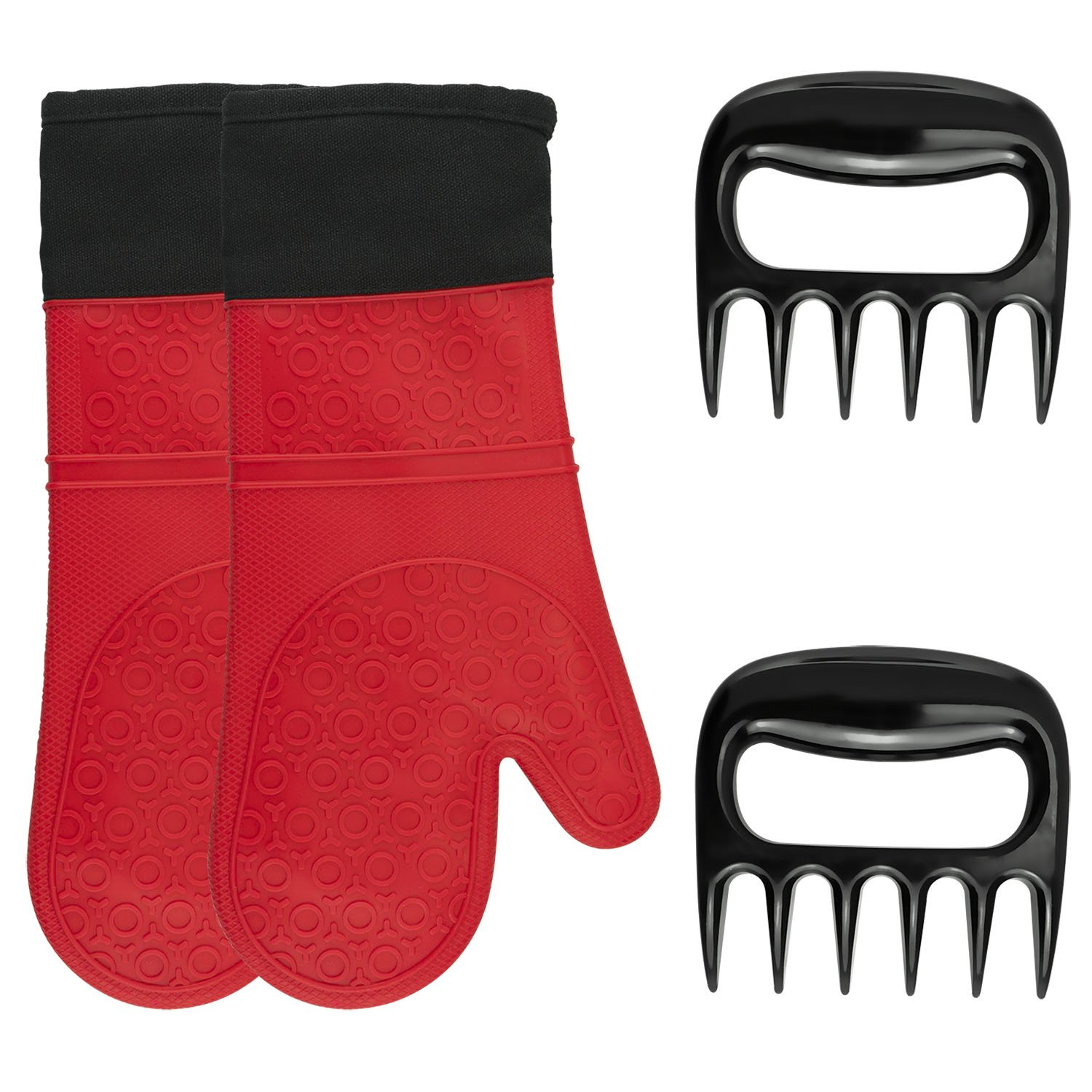 Oven Mitts, BBQ Cooking Tool Set Silicone Extreme Heat Resistant Oven Mitt For Grilling, Baking and Barbecue soogoo