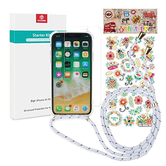 quality design 39313 aaf5d iPhone Xs Max Necklace Case, Lanyard Cord Strap Clear Shockproof Bumper  Protective Phone Case with Premium Screen Protector [DIY Sticker] for  iPhone ...