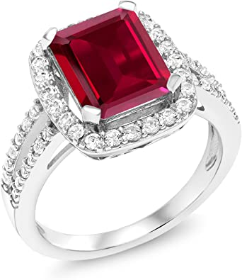 Solid 925 Sterling Silver Simulated Birthstone Created Simulated Ruby Pendant 11mm x 4mm