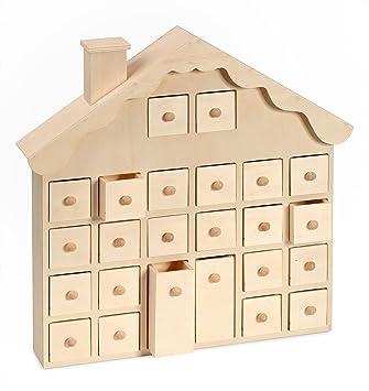Vbs Holz Adventskalender Weihnachtshaus 365x37x7cm Mit Schüben Zum