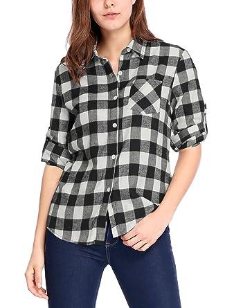 84b8d69fe Allegra K Camiseta para Mujer Mangas Enrolladas Telas Escocesas Camisa  Abotonada De Cuadros  Amazon.es  Ropa y accesorios