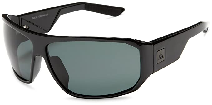 Quiksilver Mens Pulse Polarized Polarized Sunglasses,Shiny Black Frame/Ocean Lens,one size