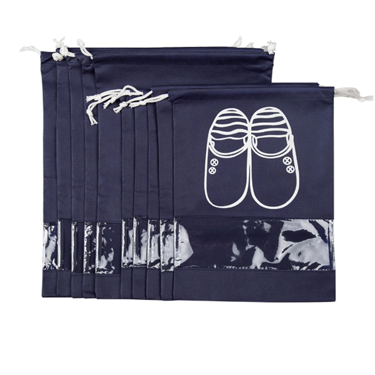 ZUYEE Travel Shoe Bags for Women Men with Clear View Window Drawstring 10 PCS (Navy)