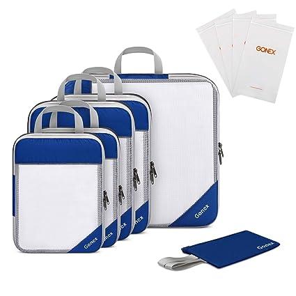 Gonex Organizador para Maletas Viaje Equipaje, Portatrajes Bolsas de Embalaje Almacenaje para Ropa Zapatos Cosméticos Cubos Ultraligeros Ahorro de ...