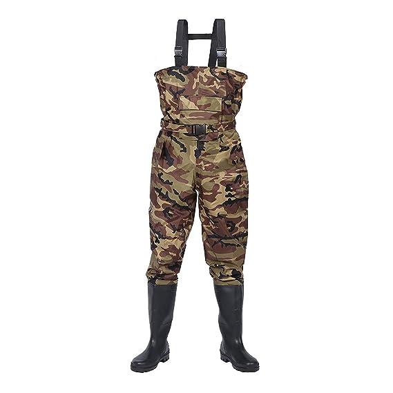 FLy Hombres De Camuflaje De Pecho Waders, Luz Al Aire Libre Botas De Arranque Cómodo Impermeable Transpirable Vadear Pantalones De Goma Wader Botas para La Pesca Y La Caza