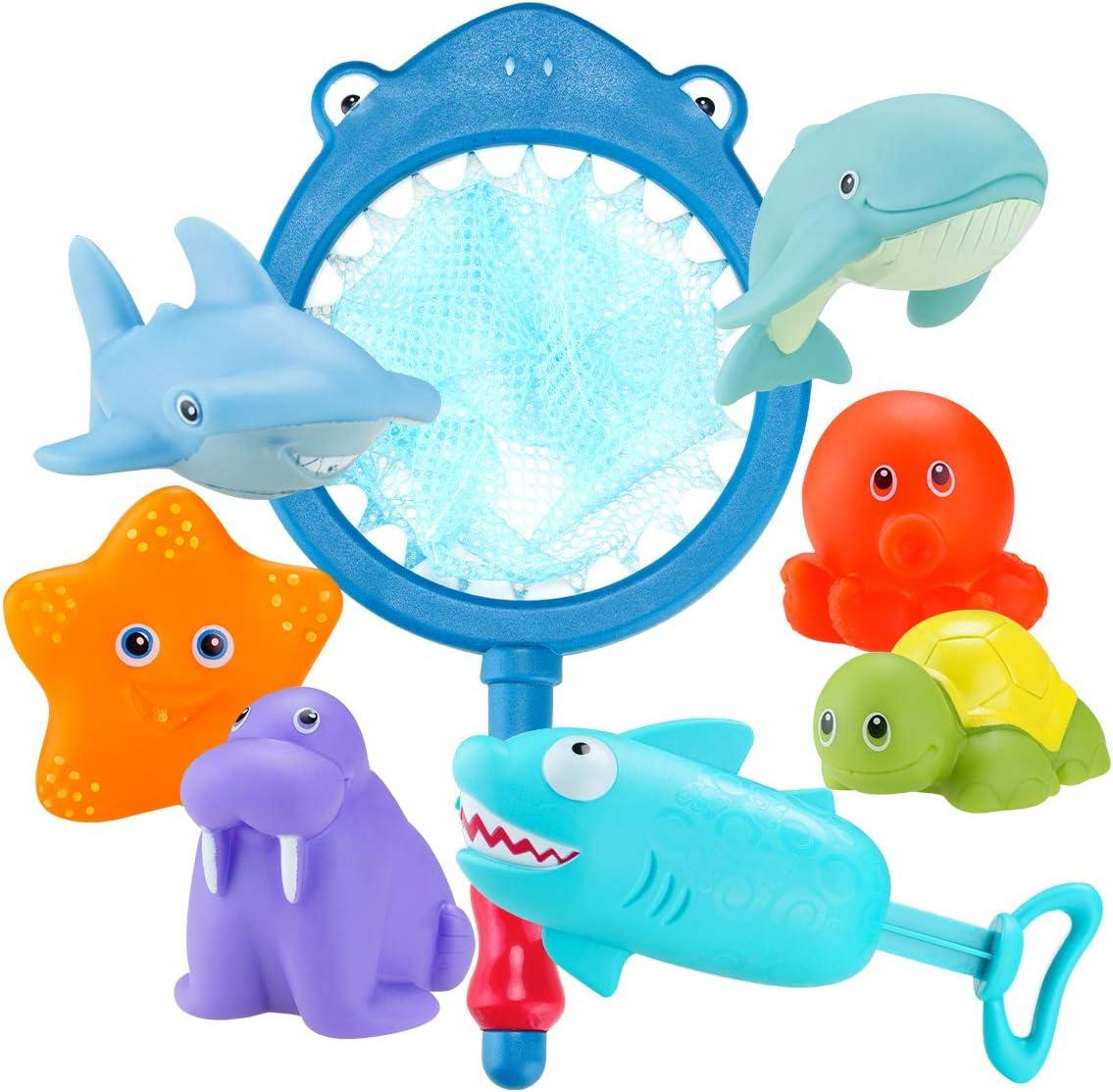 Rete,Stelle Marine,foca,Delfino,Tartaruga,Polpo,squalo,Pistola di squalo Locisne 8pcs Giocattoli da Bagno per Bambini Animali oceanici,galleggianti spruzzo Bagno Sicuro Gioco Regalo Giocattolo