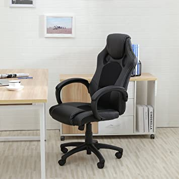 Belleze Racing Style Office Chair PU Leather Race High Back Swivel Seat  Computer Desk  BlackAmazon com  Belleze Racing Style Office Chair PU Leather Race High  . Office Racer Chair. Home Design Ideas