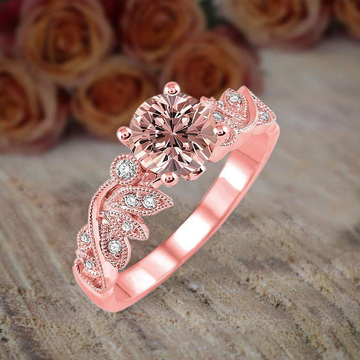 Wedding Ring On Sale.Amazon Com 1 50 Carat Round Cut Morganite And Diamond Flower