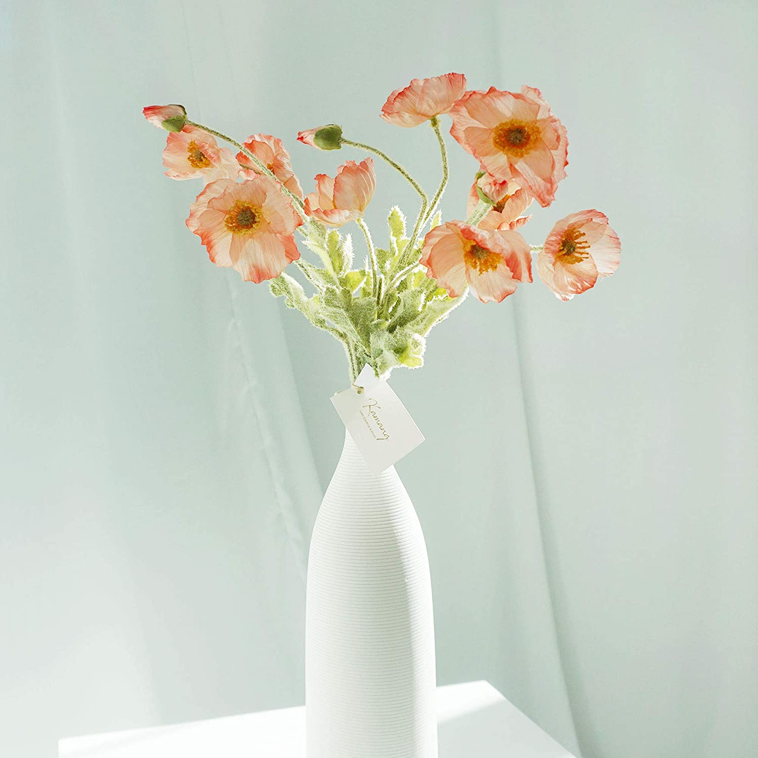 Kamang Realistic Poppy Silk Flower (9pcs/3sets) for Wedding Decoration, Home/Party Decor. Artificial Real Touch Poppy Flower with Aesthetic Color, Decorative Faux Flower Poppies (Coral Gradient)