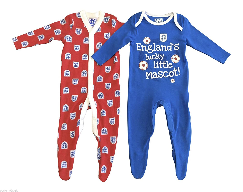 2 Pack - Baby Boys England Sleepsuit Pyjamas Onesie SS