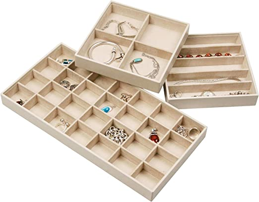 Jewelry Trays For Drawers Stackable Jewelry Trays For Earring Necklace Jewelry Storage Jewelry Organizer For Women Faux Leather Exterior Soft Felt Interior Set Of 3 Ivory Amazon Ca Home Kitchen