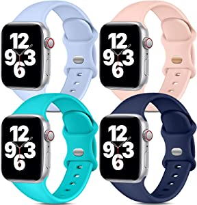 Dirrelo Band Compatible with Apple Watch Bands 42mm 44mm, [4-Pack] Soft Silicone Strap Wristbands for iWatch Series 3 5 6 4 2 1 SE Women Men, Small Purple, Pinksand, Teal, Dark Blue