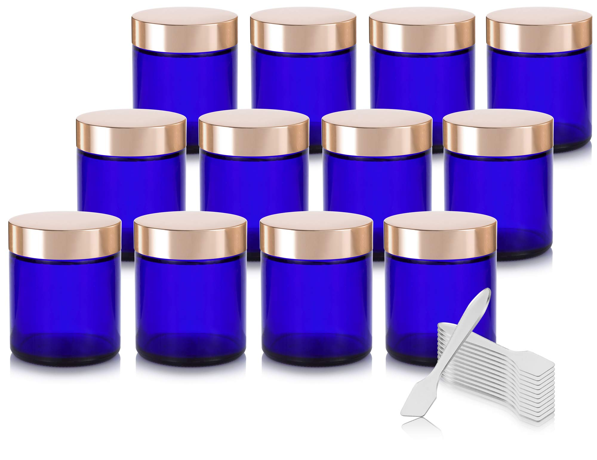 Cobalt Blue Thick Glass Straight Sided Jar with Gold Metal Overshell Lid - 4 oz / 120 ml (12 pack) + Spatulas by JUVITUS
