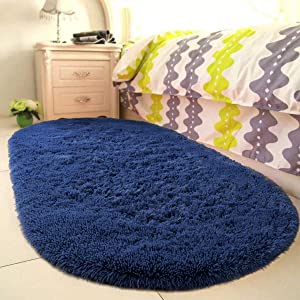 YOH Fluffy Shag Fur Area Rugs for Bedroom Girls Rooms Kids Rooms Nursery Decor Mats Non-Slip Plush Furry Fur Rugs Indoor Home Accent Floor Carpet, Oval 2.6'x5.3', Indigo