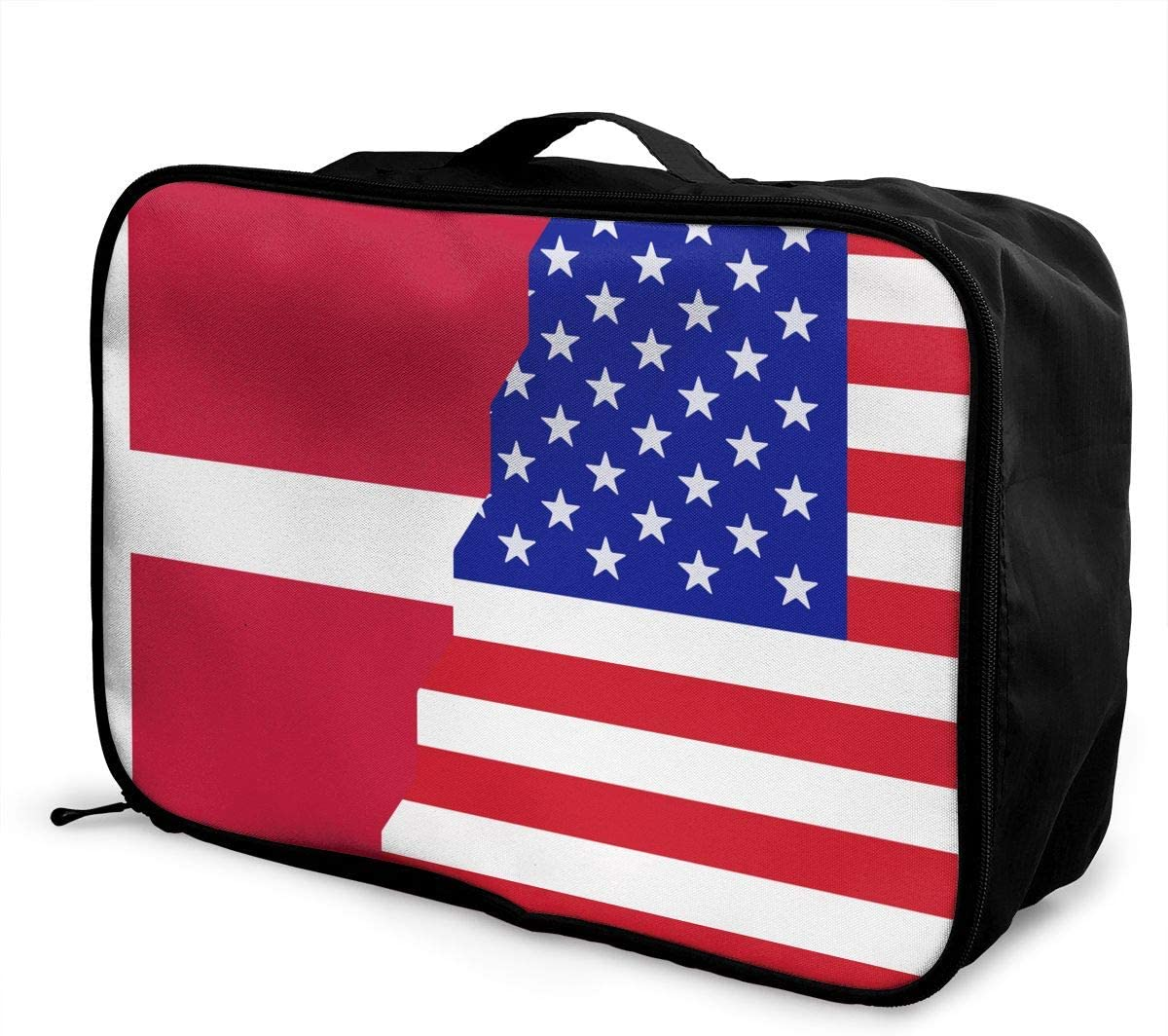 Denmark American Flag Overnight Carry On Luggage Waterproof Fashion Travel Bag Lightweight Suitcases
