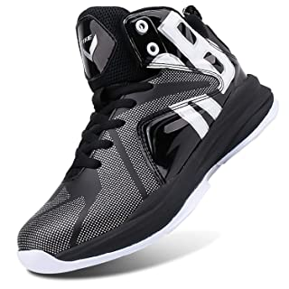 WETIKE Boys Basketball Shoes Lace Up High Top Sneaker Outdoor Trainers for Unisex Kids Durable Sport Shoes (Little Kid/Big Kid) Armor Black,6.5M US Big Kid