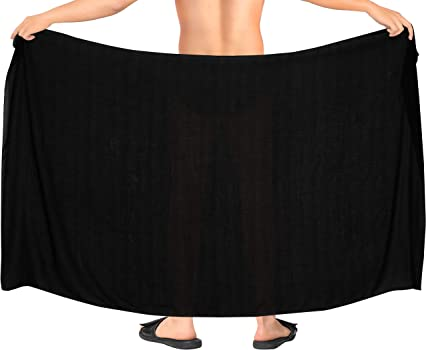 LA LEELA Mens Full Swimsuit Cover Up Sarong Swimwear Cover-Up Wrap Solid Plain A