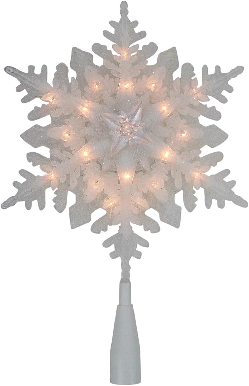 Northlight 10インチ ライト付きホワイトスノーフレーククリスマスツリートッパー - クリアライト