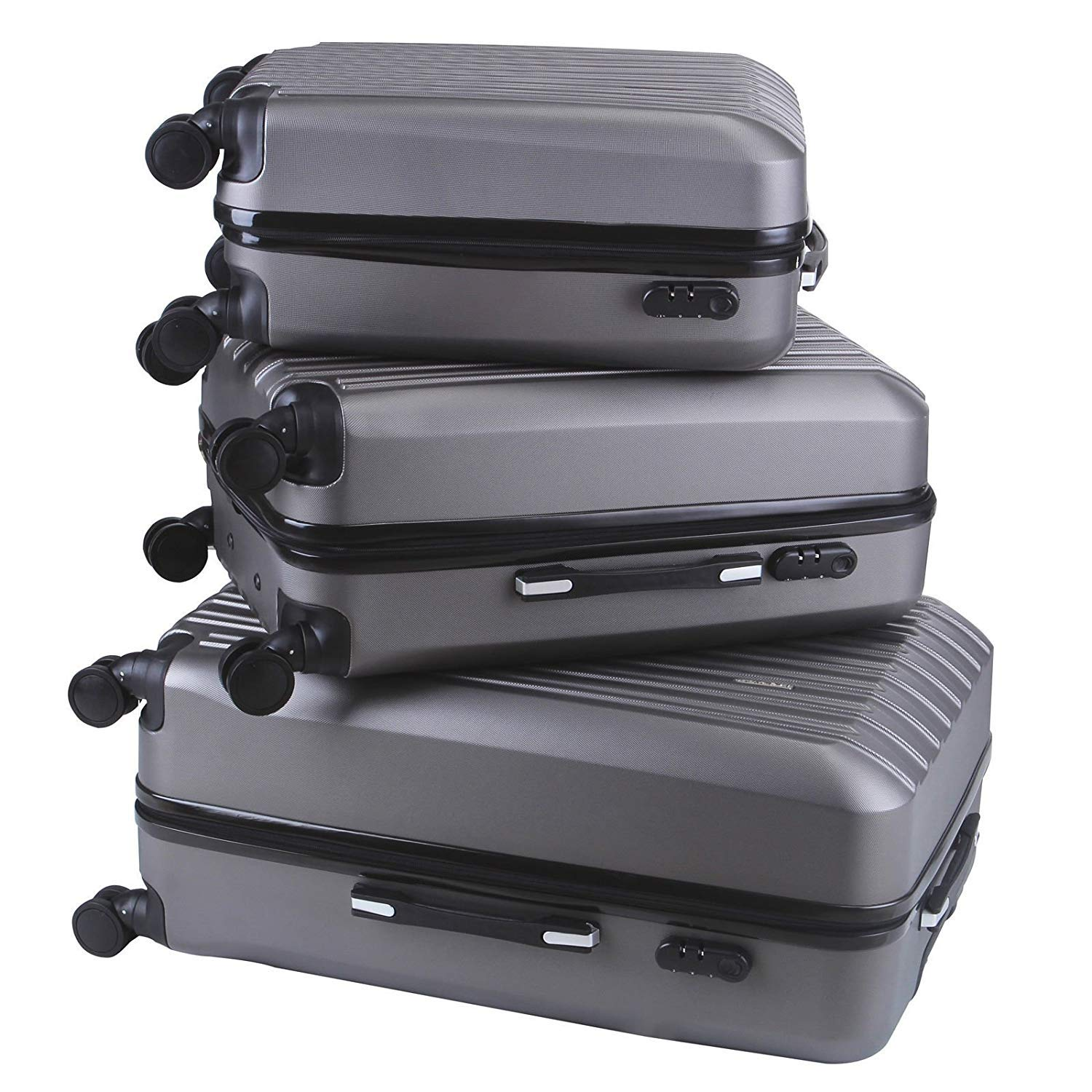Dark Gray Directsale92 New 3x Travel Spinner Luggage Set Bag ABS Trolley Carry On Suitcase w//TSA Gray