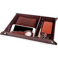 Valet Tray Jewelry OrganizerPU Leather Watch Box Coin Change Key Tray for Storage Coffee